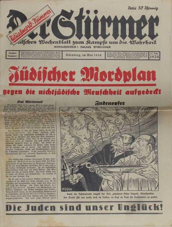 """1934年XNUMX月的特别版《仪式谋杀》(DerStürmer)的封面。 标题宣称:""""公开了针对非犹太人的犹太人谋杀计划。"""" 在首页的底部有一个座右铭:""""犹太人是我们的不幸""""。"""
