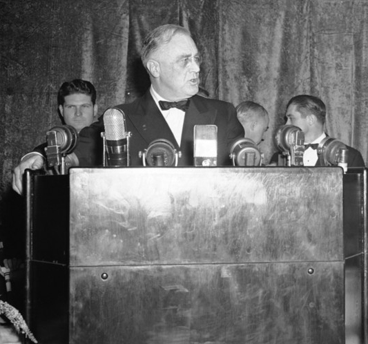 In a nationally broadcast address of Oct. 27, 1941, President Roosevelt claimed to have documents proving German plans to take over South America and abolish all the world's religions.